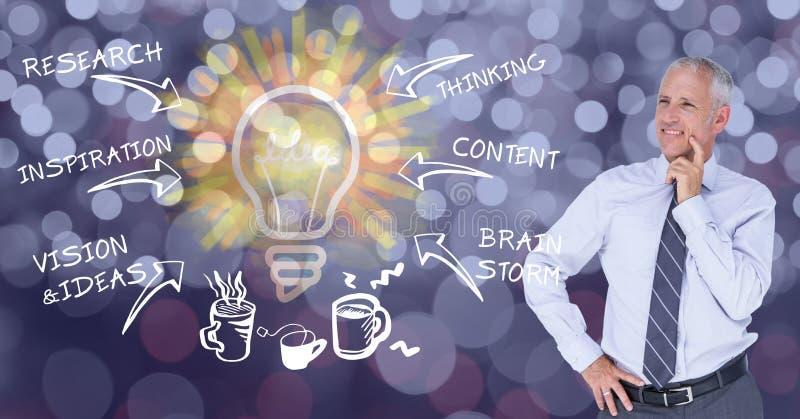 Digital blossar den sammansatta bilden av affärsmannen som ser olikt text- och pilsymbol mot linsen, i b arkivfoto