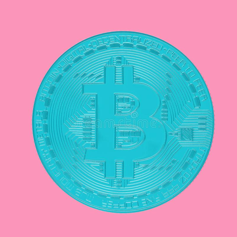 Digital Blue Cryptocurrency Bitcoin Coin. 3d Rendering stock illustration