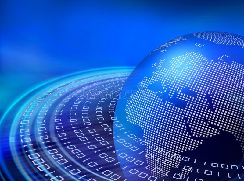Digital blue data orbits royalty free illustration