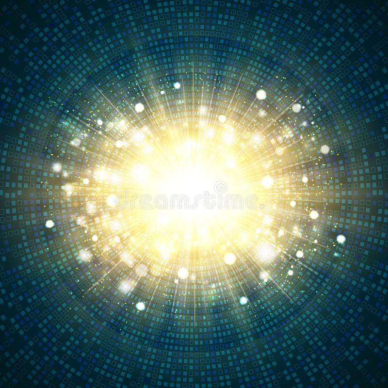 Digital blue technology square circle of gold glitter burst center background. illustration vector eps10 stock illustration
