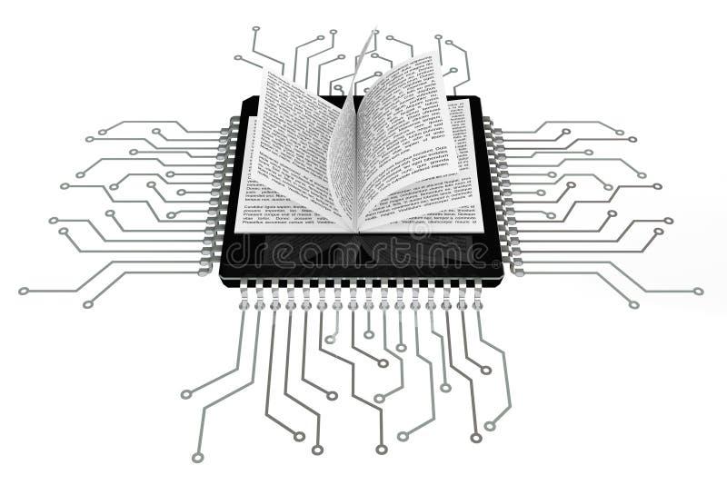 Digital bokbegrepp Bok över mikrochipers med strömkretsen stock illustrationer
