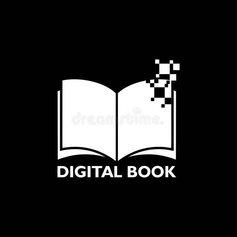 Digital Book icon isolated on black background vector illustration