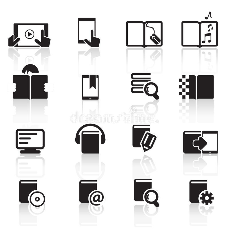 Digital book icons set01 stock photos