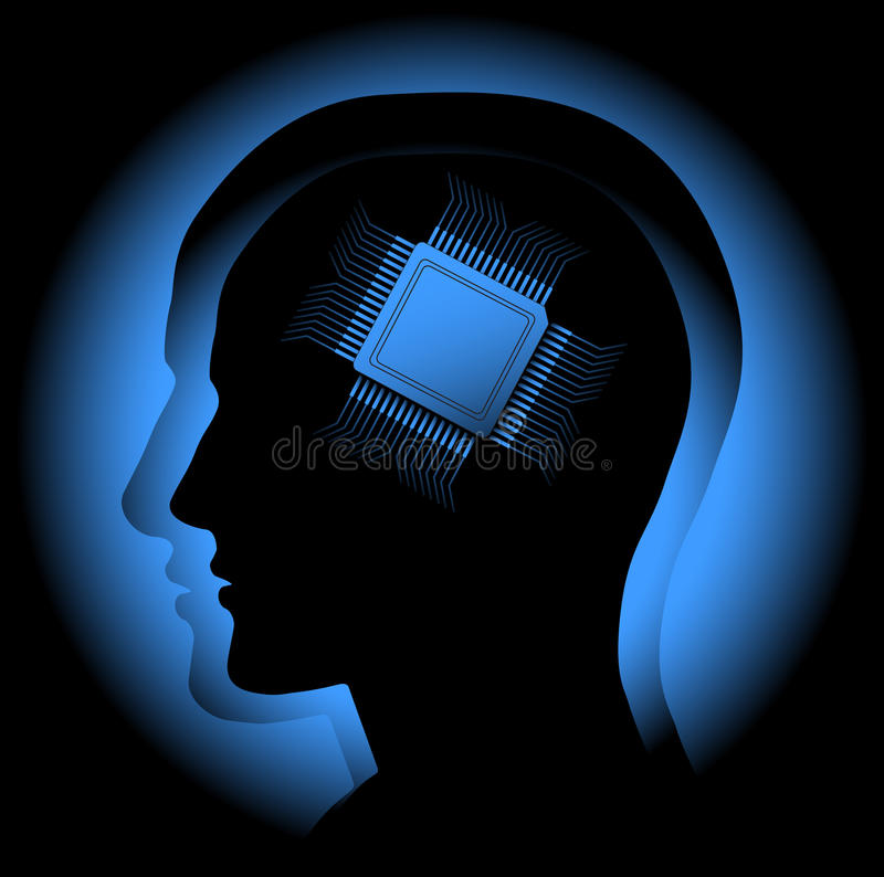 Digital brain. The abstract image symbolizing the human brain as a processor. Vector