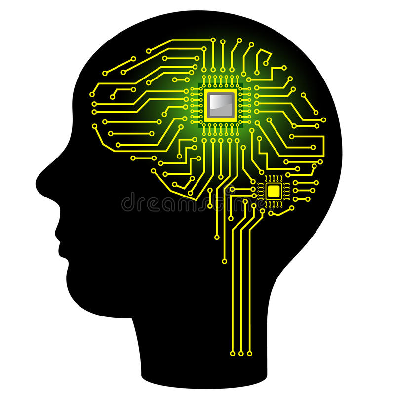 Circuit Brain Reusable : Digital brain stock illustration of chip