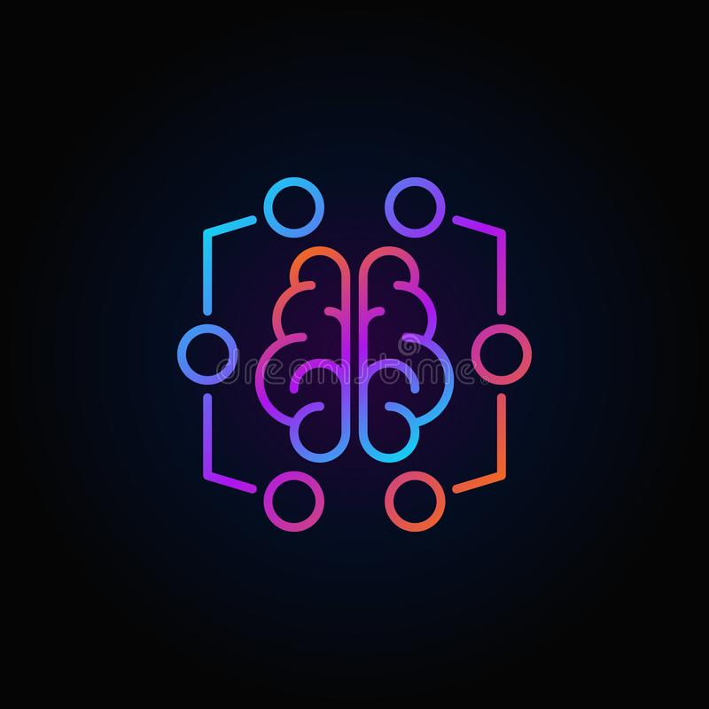 Digital brain colorful icon - vector machine learning symbol. Digital brain colorful icon - vector machine learning concept line symbol or logo element on dark stock illustration
