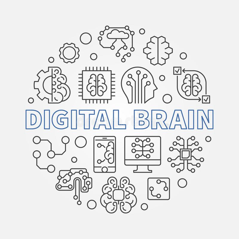 Digital Brain concept round vector illustration in outline style vector illustration
