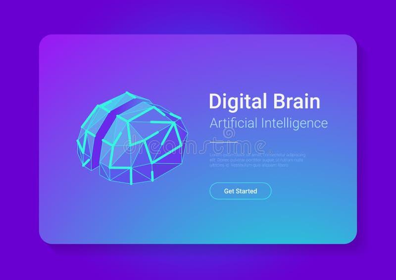 Digital Brain Isometric flat style vector design concept. Artificial intelligence technology AI illustration.  stock illustration