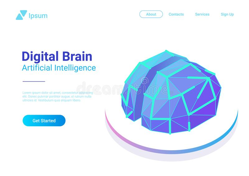 Digital Brain Isometric flat vector. Artificial in stock illustration