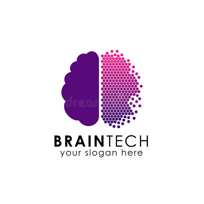 Digital brain logo design in pixel style. brain tech vector icon stock illustration