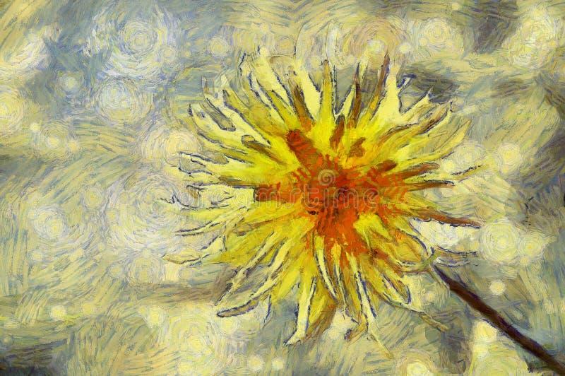 Digital brushwork of blooming yellow thistles flower. royalty free stock photos