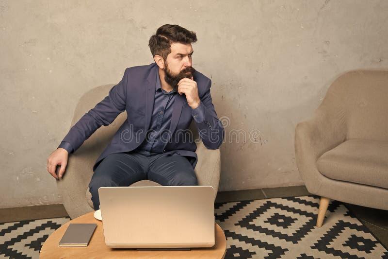 Digital business. Banker or accountant. Business correspondence. Modern businessman. Businessman work laptop. Responding stock photo