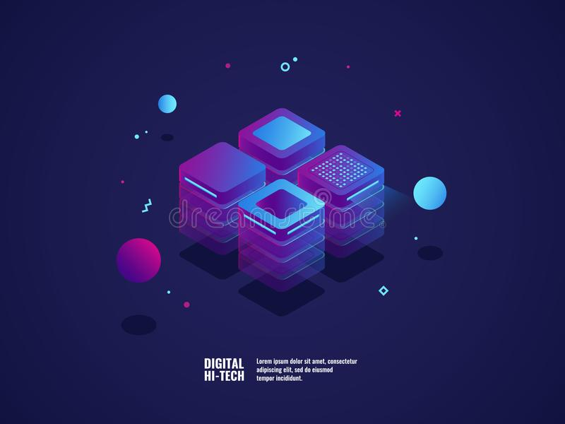 Digital business concept, server room, datacenter and database icon, technology object, web hosting and virtual server. Rent, neon lighting lements isometric royalty free illustration