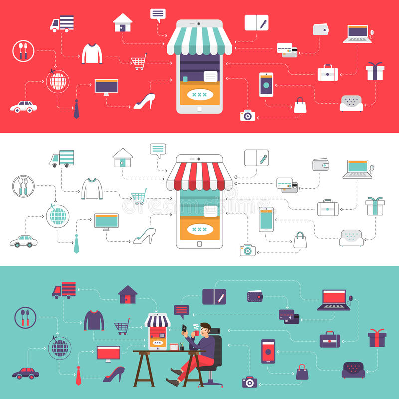 Digital business. Flat desdign concept e-commerce and online shoping. Vector illustrate royalty free illustration
