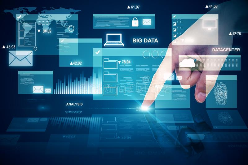 Digital business interface. Hand using digital business interface hologram. Big data and innovation concept. Multiexposure royalty free stock images