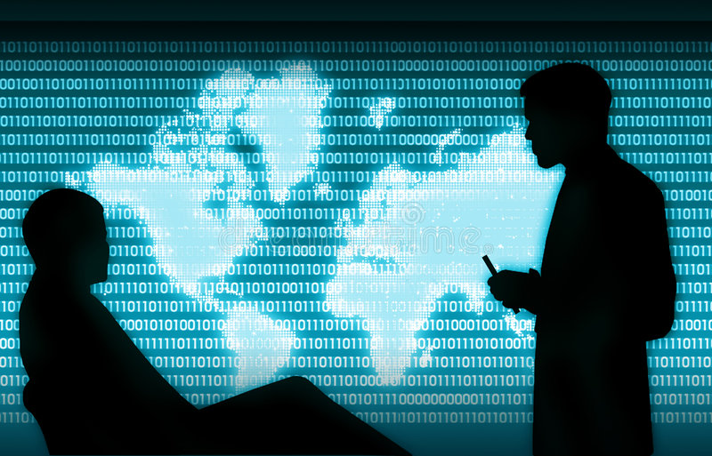 Digital business presentation. Business presentation,two business man silhouette the background is a digital world map covered by binary data codes