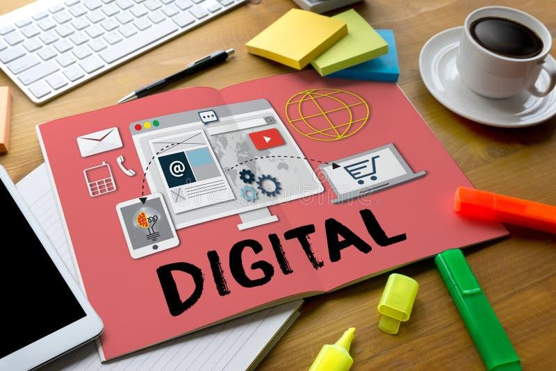 Digital Business Team Digital Device Technology , Digital Business Transformation , Hi-tech technological Digital , About Digital vector illustration