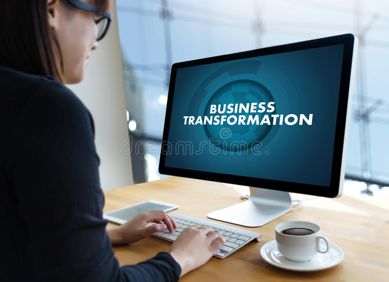 Digital BUSINESS TRANSFORMATION , Hi-tech technological Digita stock photo
