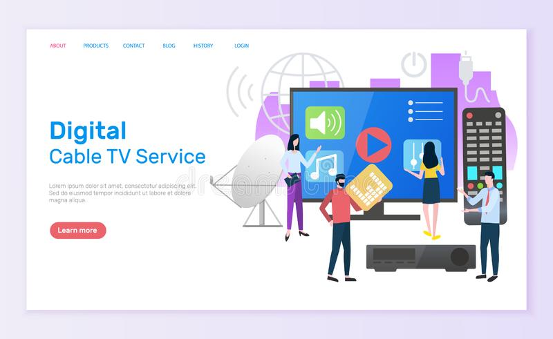 Digital Cable TV Service People with Television royalty free illustration