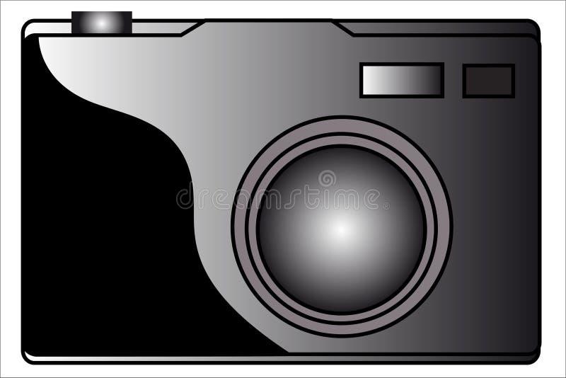 Digital camera. Isolated grey scale stock illustration