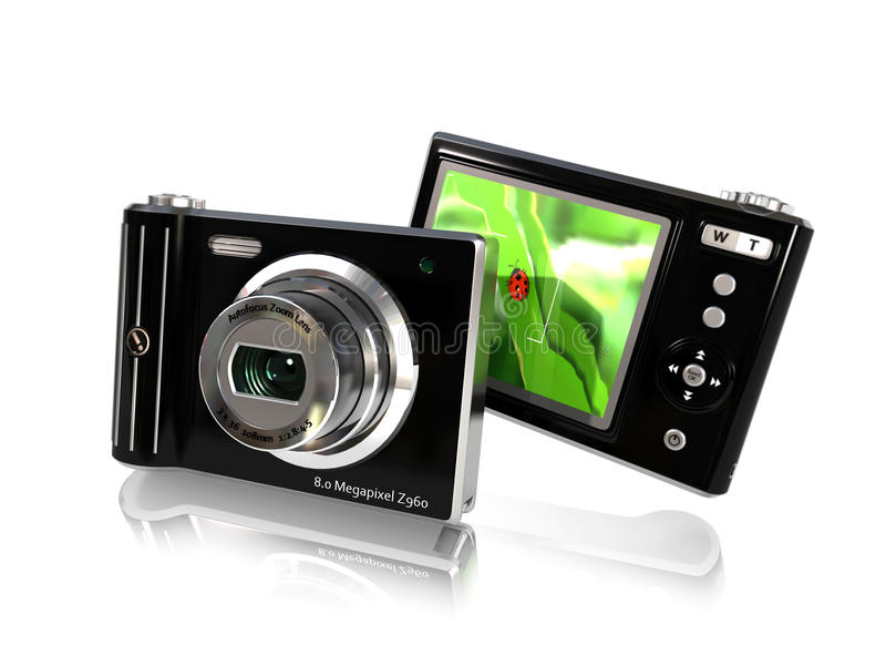 Digital Camera. A front and back view of a stylish digital camera stock illustration