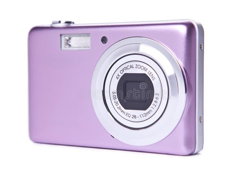 Digital Camera. Pink Digital Camera on white background stock photography