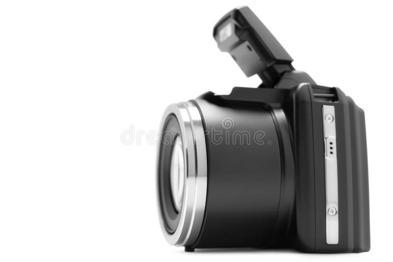 Digital Camera. New modern digital camera on white background stock images