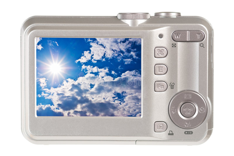 Digital camera. A digital camera on white royalty free stock image