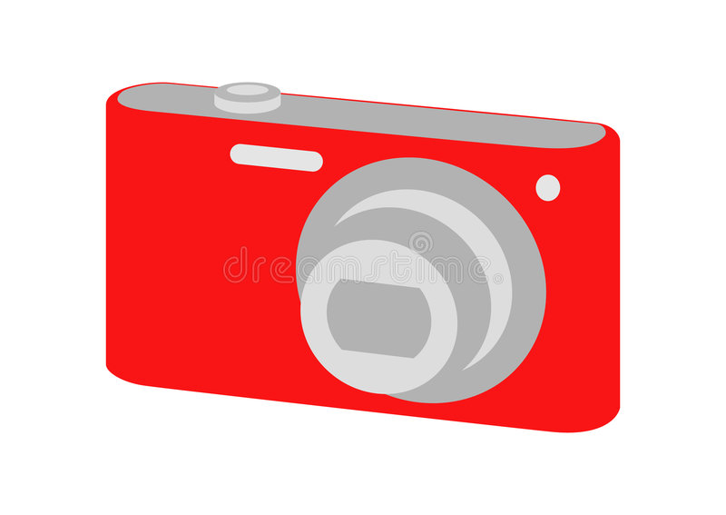 Digital camera. Vector image - a digital camera (point and shoot vector illustration