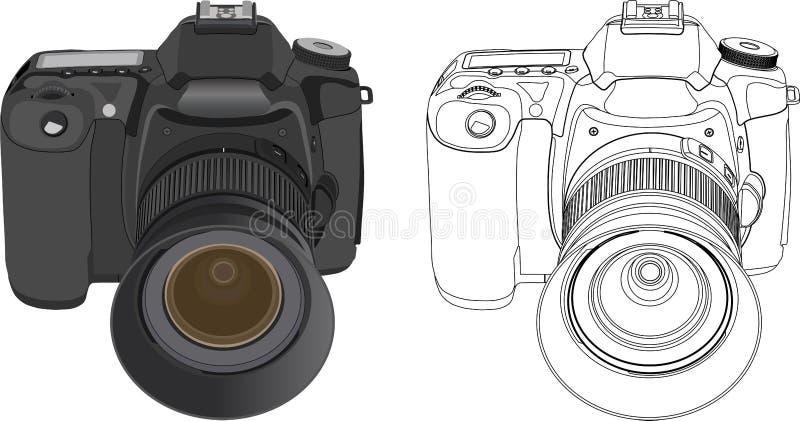 Digital camera. Black digital camera isolated on white background. Vector illustration royalty free illustration