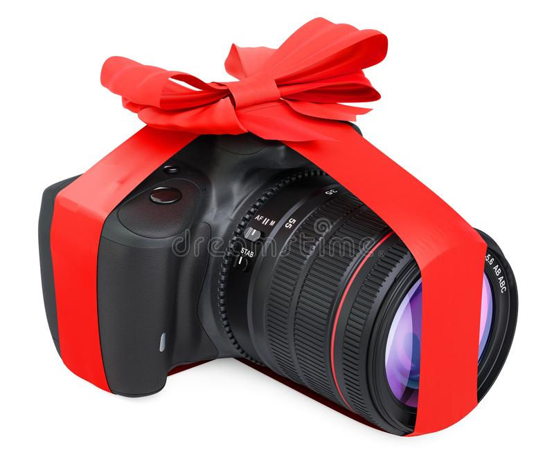 Digital camera with bow and ribbon, gift concept. 3D rendering vector illustration