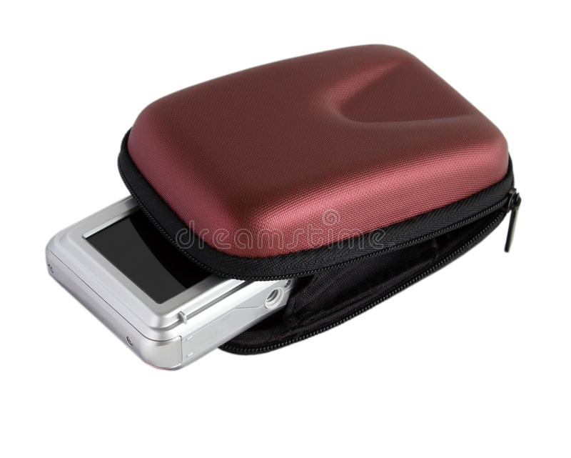 Digital camera in a brown pouch stock photos