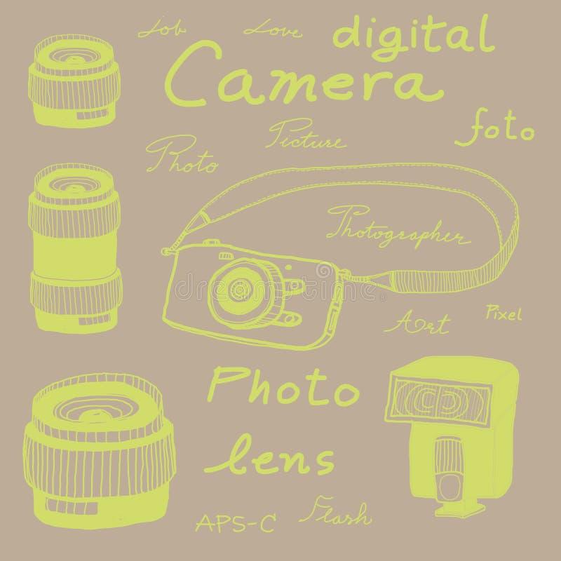 Digital camera drawing sketch royalty free illustration