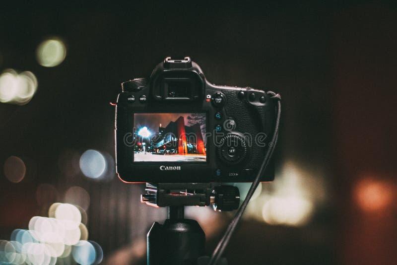 Digital camera focusing on night scene royalty free stock photos