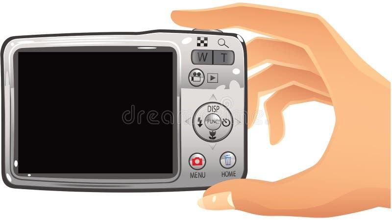 Digital camera and hand vector illustration