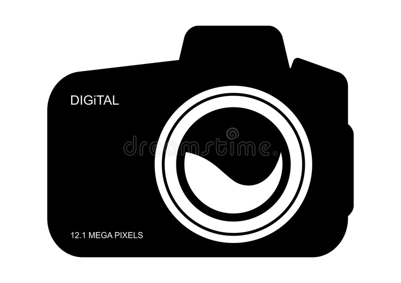 Digital Camera Icon. Illustration of black color digital camera icon or symbol