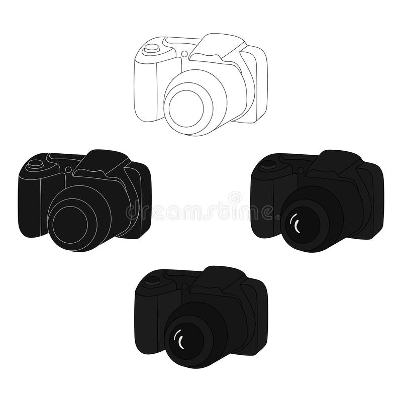 Digital camera icon in cartoon,black style isolated on white background. Family holiday symbol stock vector illustration. Digital camera icon in cartoon,black stock illustration