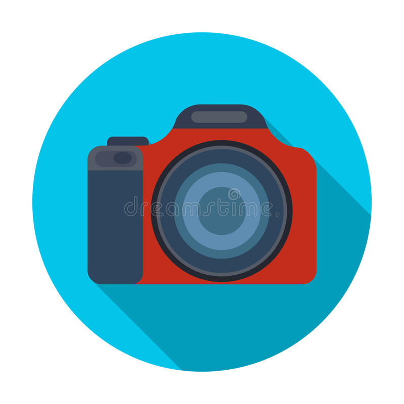Digital camera icon in flat style isolated on white background. Rest and travel symbol stock vector illustration. vector illustration