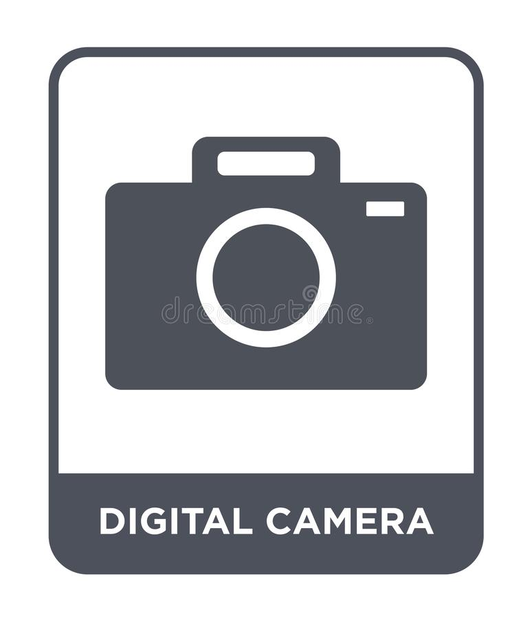 Digital camera icon in trendy design style. digital camera icon isolated on white background. digital camera vector icon simple. And modern flat symbol for web royalty free illustration