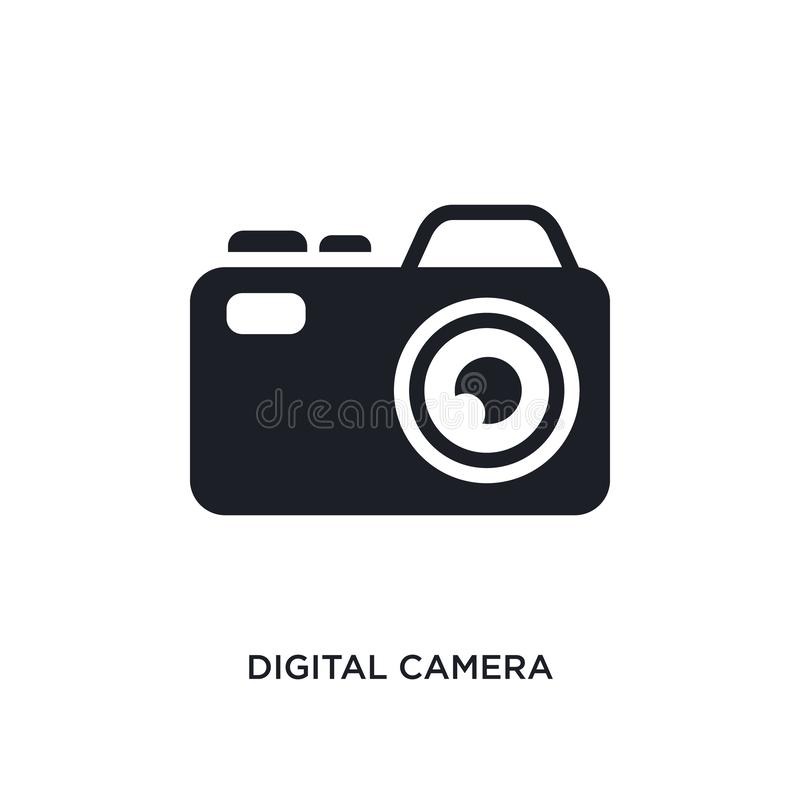Digital camera isolated icon. simple element illustration from electronic stuff fill concept icons. digital camera editable logo. Sign symbol design on white royalty free illustration