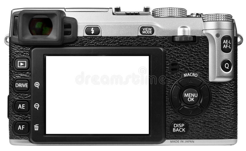Digital Camera Isolated. Retro style digital camera isolated on a white background royalty free stock photo