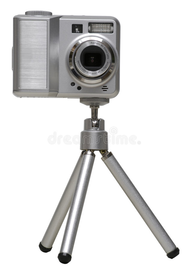 Digital Camera on a Tripod - Isolated stock photography