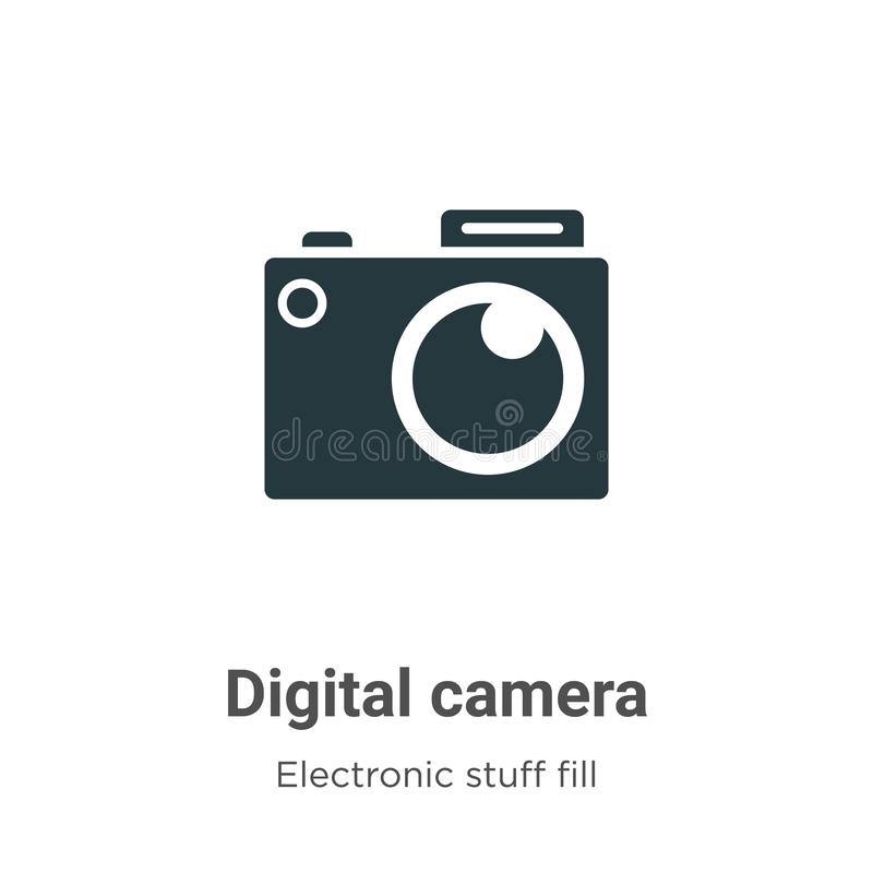 Digital camera vector icon on white background. Flat vector digital camera icon symbol sign from modern electronic stuff fill stock illustration