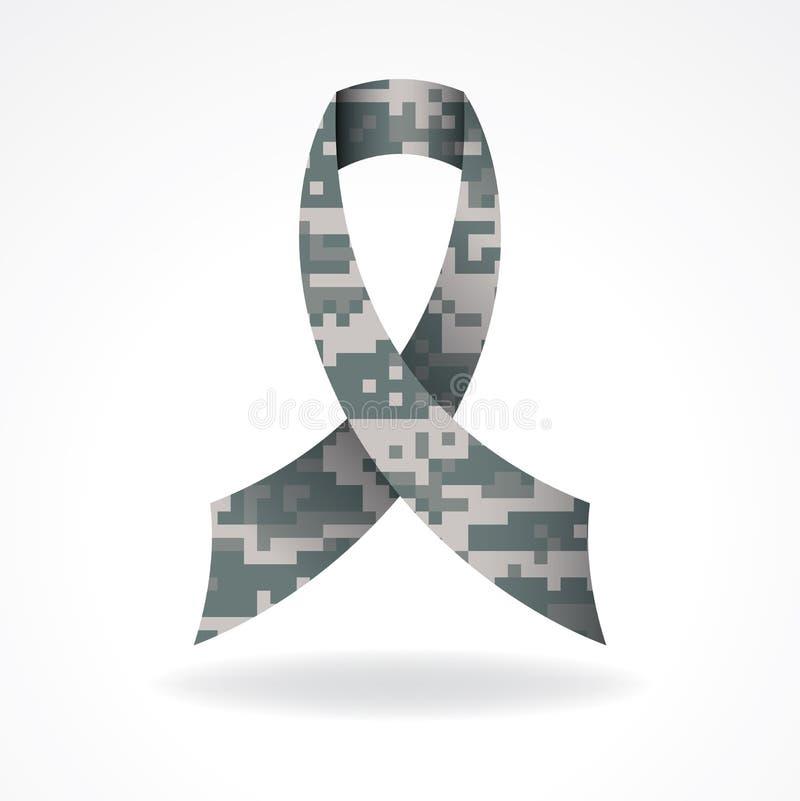 Digital Camo Military Support Ribbon Illustration royalty free illustration