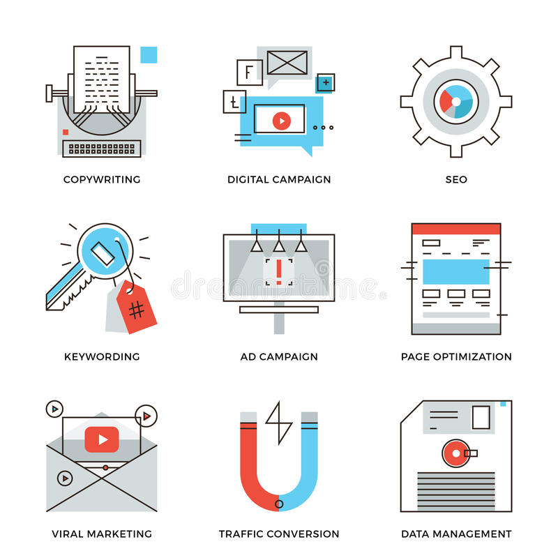Digital campaign development line icons set stock illustration