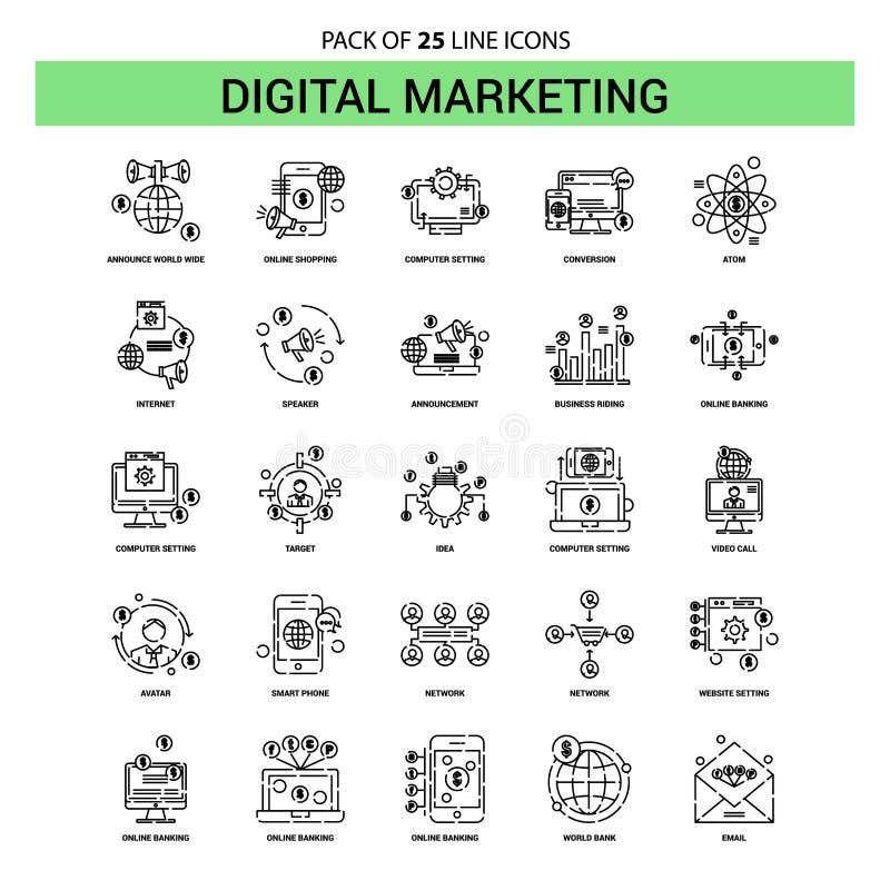 Digital che commercializza linea insieme dell'icona - stile tratteggiato del profilo 25 royalty illustrazione gratis