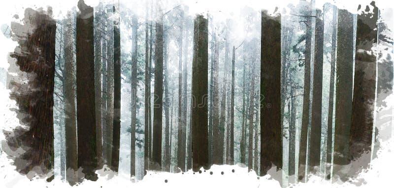 Digital che dipinge fondo di luce solare diretta attraverso gli alberi con nebbia nella foresta in Alishan Forest Recreation Area illustrazione di stock