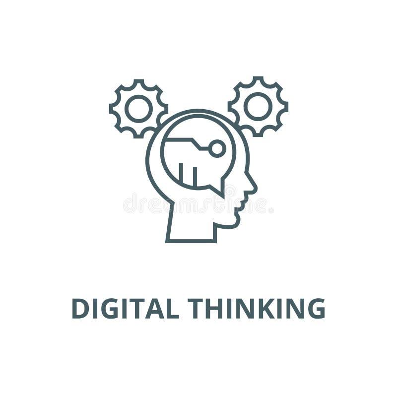 Digital che pensa linea icona, vettore Digital che pensa il segno del profilo, simbolo di concetto, illustrazione piana illustrazione vettoriale