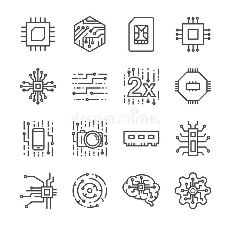 Digital chip processor icons set. Flat Design Vector Illustration: Digital chip processor icons set royalty free illustration