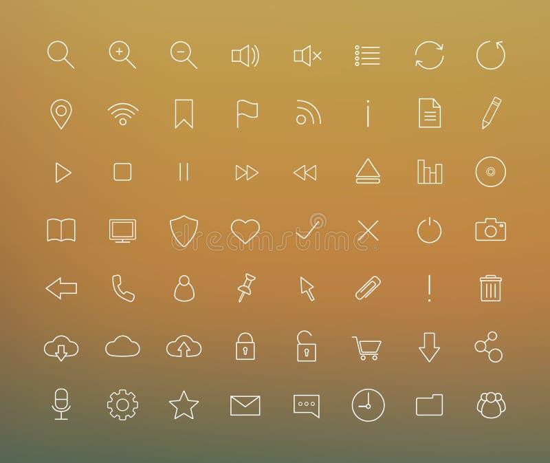 Digital cienkie kreskowe ikony ustawiać ilustracja wektor